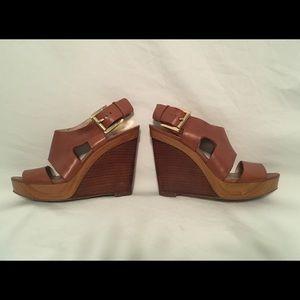 Michael Kors Josephine Wedge Leather Sandals / 6